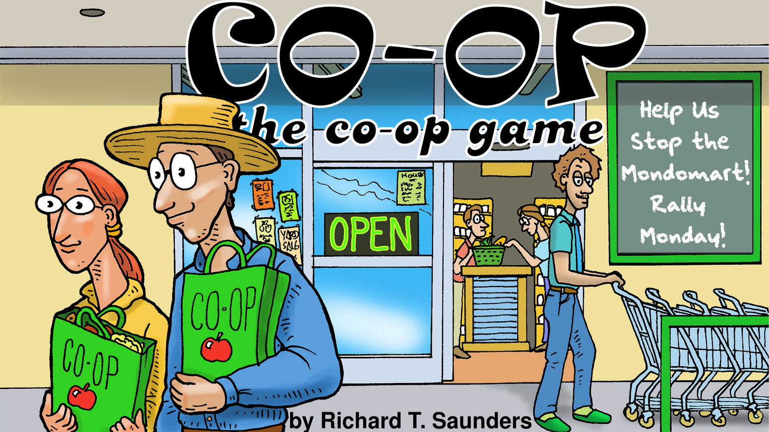 CO-OP: the co-op game is a zany cooperative card game for 1-5 players. Can we work together to save the CO-OP from the evil MondoMart? The Kickstarter is OVER but you can still order from our website!