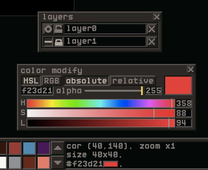 HSL and RGB sliders to modify color palette options