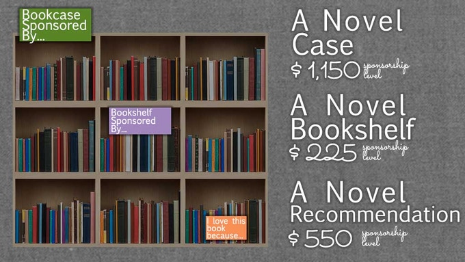 Sponsor a whole bookcase, a bookshelf, or create a recommendation card.