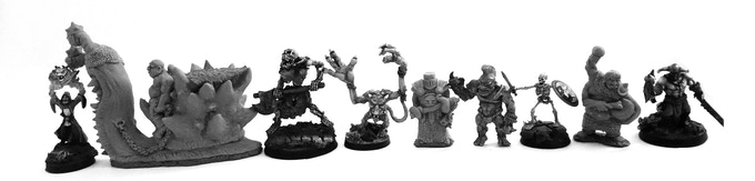 Some Knights of Gnar in comparison to various other figure ranges