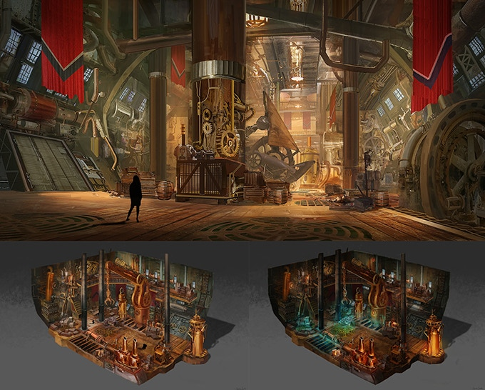 Concept art inside the hold of The Black Cloud