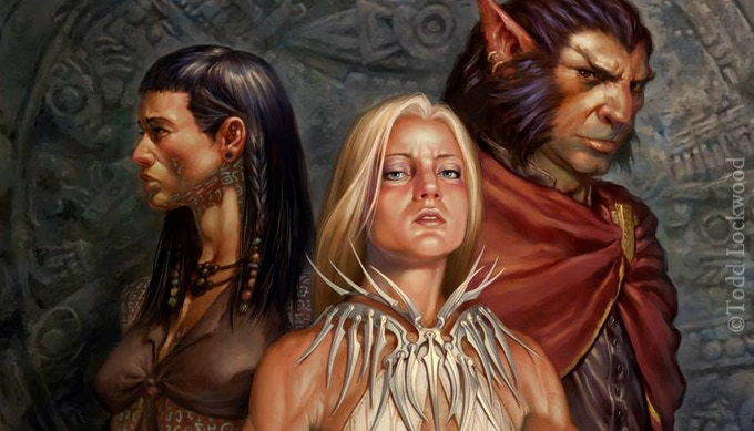 Visions of Nameless Realms races and Taux iconics by Todd Lockwood
