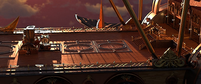 Look development of the deck of the skyship, The Black Cloud