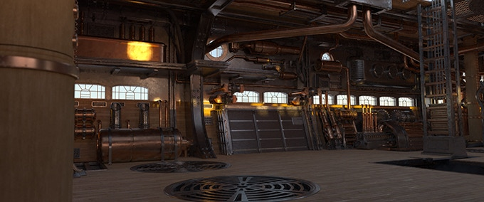 Look development of the hold of the skyship, The Black Cloud