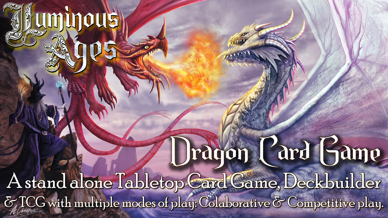 Luminous Ages, a tabletop & trading card game with cooperative and competitive play. Fight against Dragon Gods in this Dream Universe.
