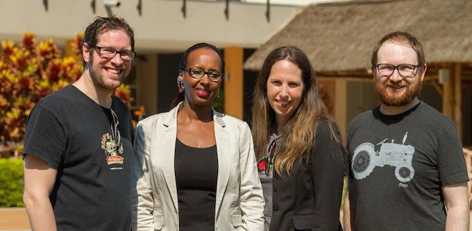 Group [L-R] Beau's CEO Steve Beauchesne, Rwandan entrepreneur Fina Uwineza, Beau's CFO Tanya Beimers, Beau's Creative Director Jordan Bamforth, photo credit Brendan Coutts