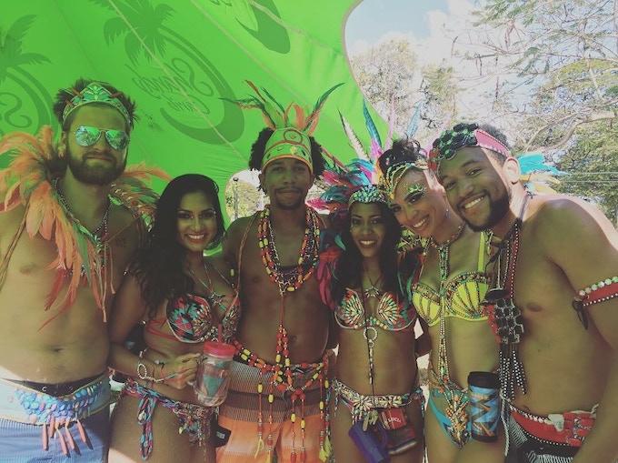 Team at Carnival in Trinidad (Darren: left, Mustafa: middle)