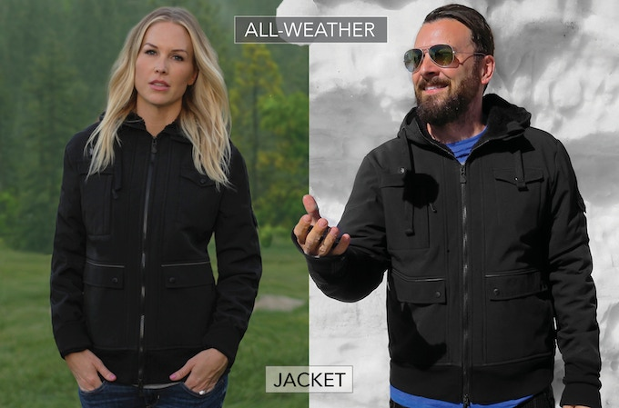 Black all-weather jacket with super-soft sherpa lining