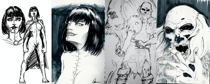 Concept sketches for Miss Cocaine and Mavo.