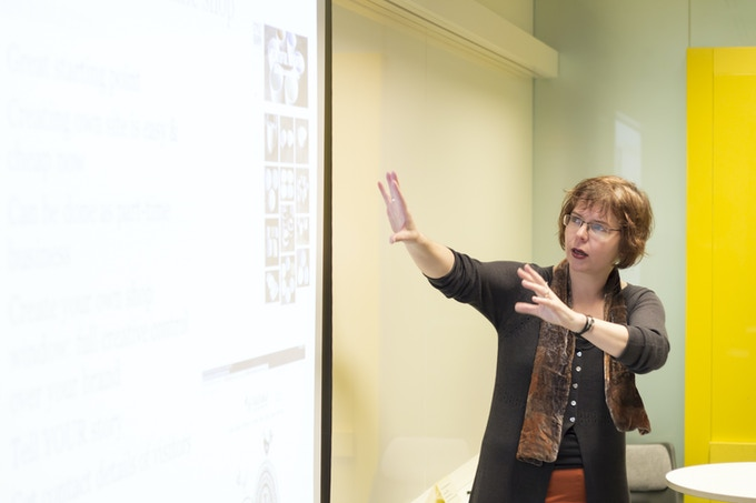 Patricia van den Akker at a British Library workshop