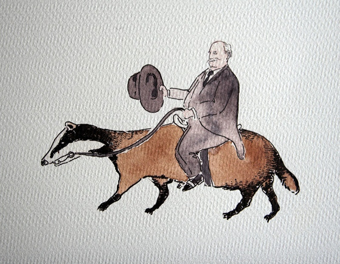 For example, you could ask me to draw President William Howard Taft riding a badger.