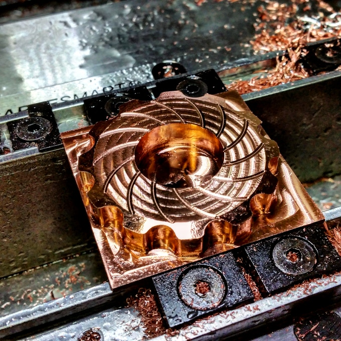 Copper Cognito during machining