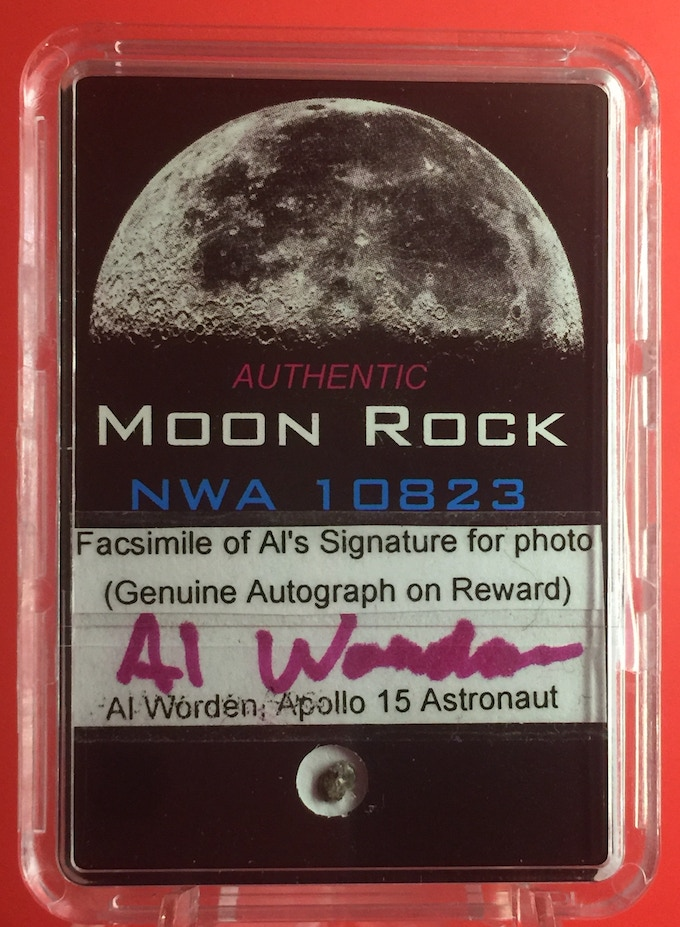 Prototype Front of the $99 (and  $149) Pledge Reward individually autographed by Al Worden. (This photo has does not have Al Worden's actual autograph on it, but the reward will.) At the bottom is the Moon Meteorite specimen.
