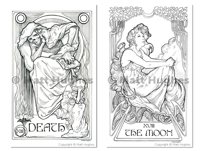 Ethereal Visions Tarot Coloring Book - Art Nouveau by Matt Hughes ...