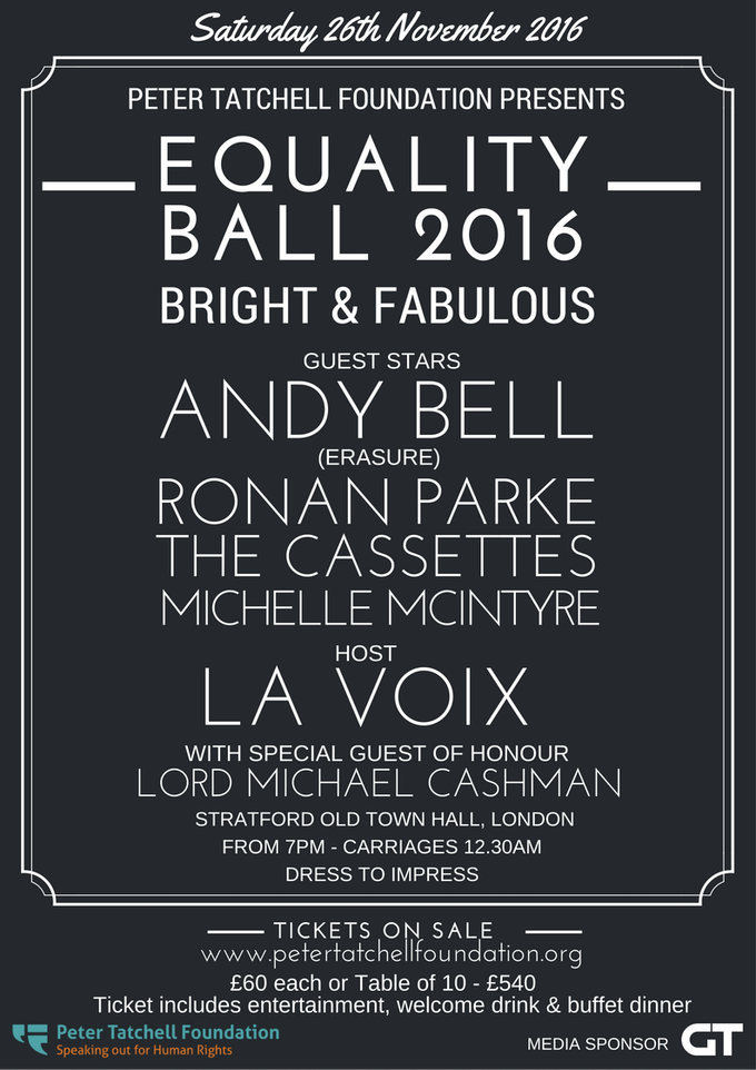 £220 pledge includes two tickets to this year's Equality Ball