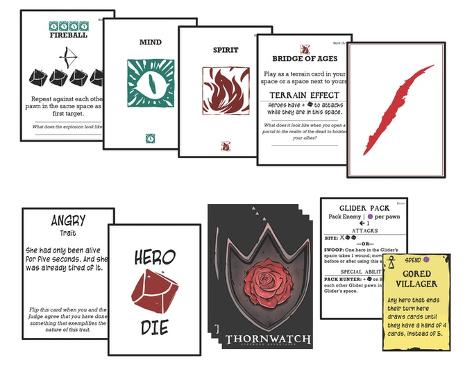 Player and judge cards from the print-and-play. Across the top, a hand of cards for the Sage. On the bottom, the Sage's trait cards (one flipped to a hero die), an enemy rules card, and a terrain card.
