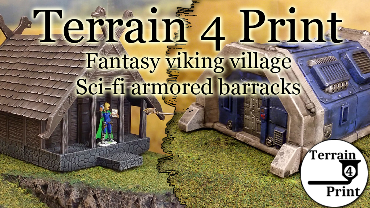 Terrain 4 print makes 3D printable terrain for wargames and roleplaying games. This project is about viking and sci-fi buildings.