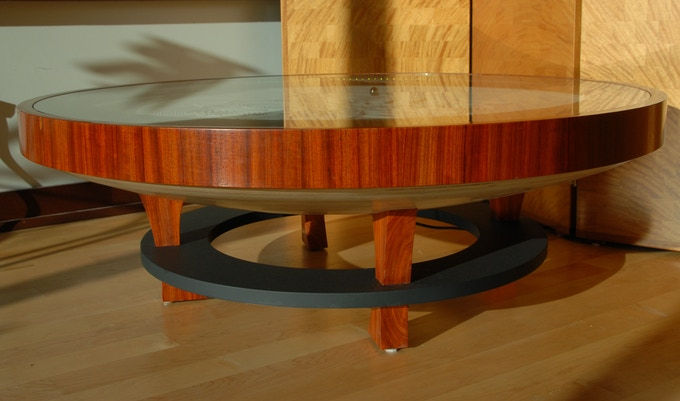 hardwood coffee table showing appleply base