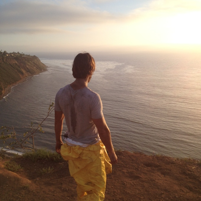 "Drew Van Acker (""James"") on location in Palos Verdes."