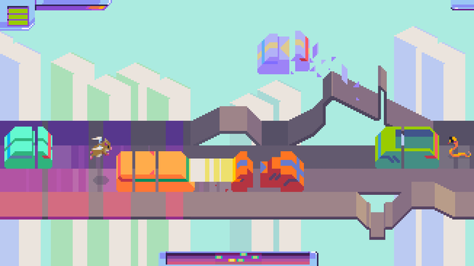 mockup of what virtual pets will look like when they're following cars about, also the road lanes being hacked D: