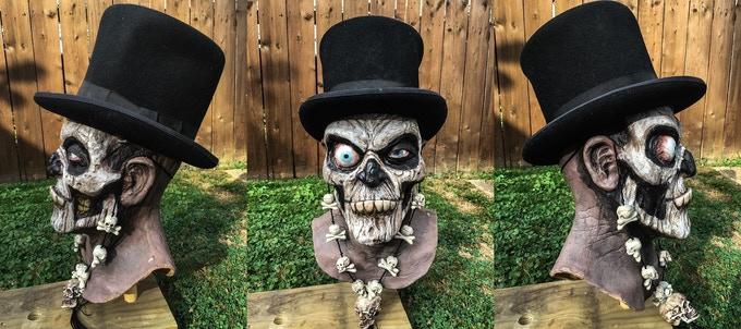 One of a kind Voodoo Corpse mask sculpted by Gus Clark and Painted by Eric Hooven