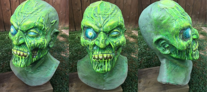 One of a kind Toxic Corpse mask sculpted by Gus Clark and Painted by Eric Hooven