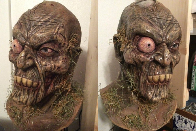 One of a kind Swamp Corpse mask sculpted by Gus Clark and Painted by Eric Hooven