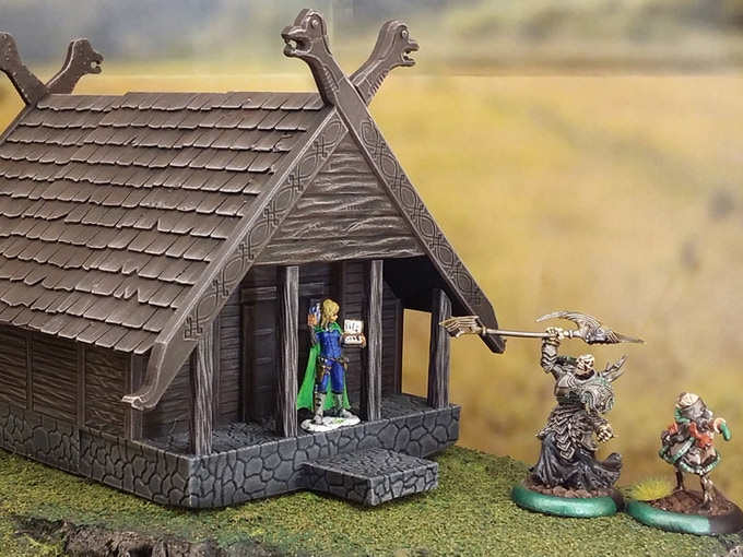Printed and painted viking house