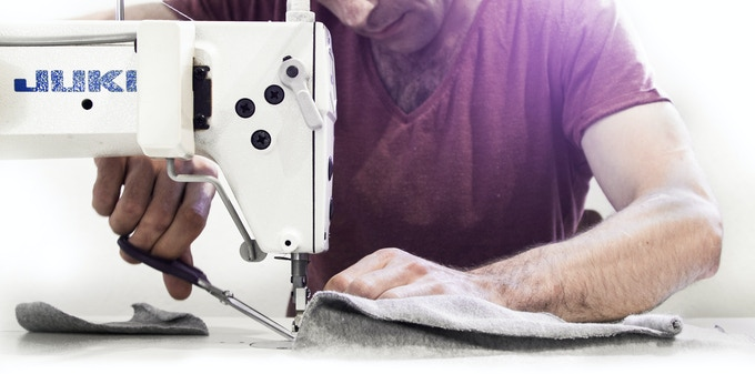 Ahmed while sewing