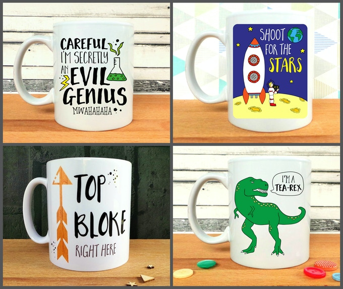 Careful I'm Secretly An Evil Genius, Shoot For The Stars, Top Bloke Right Here, and I'm A Tea-Rex Mugs