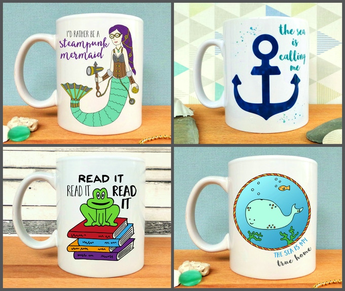 I'd Rather Be A Steampunk Mermaid, The Sea Is Calling Me, Read It Read It Read It, and The Sea Is My True Home Mugs