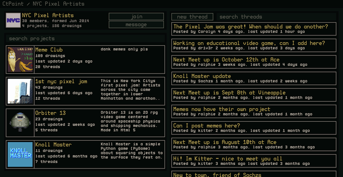 A mock up of a group page, with its projects on the left, and its message board on the right.