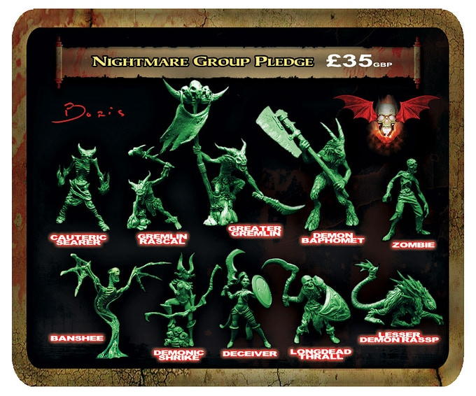 Nightmare Group minis will all be cast in a lead free alloy metal