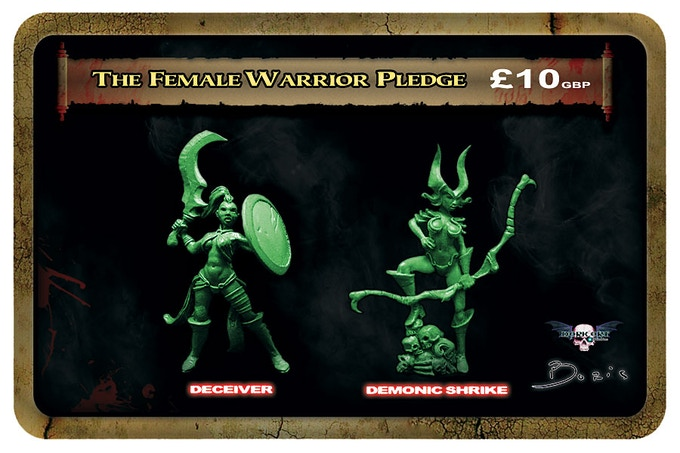 Female warrior minis will be cast in a lead free alloy metal