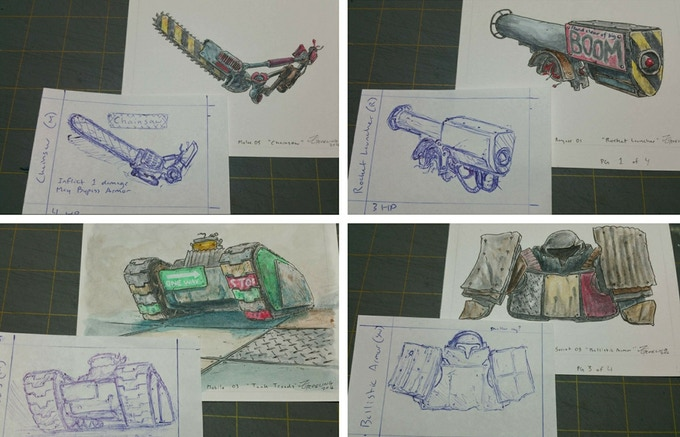 Receive one of the original works of art plus the sketch of the Component Cards if you pledge at The Builder level.