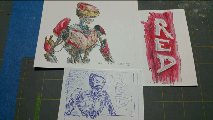 Receive one of the original works of art plus the sketch of the Armor Cards if you pledge at The Engineer level.