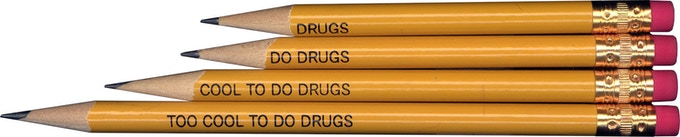 Reissued pencils from a 1998 failed anti-drug campaign in Plainview, NY: included in most pledge levels. Click for NYTimes article.