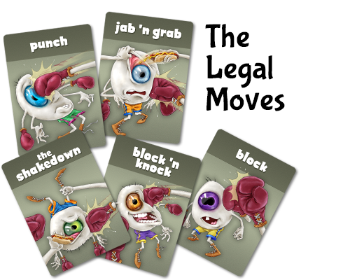 """Eyeballs inflict damage on each other with a selection of """"legal"""" moves."""