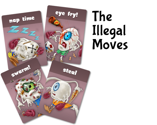 Eyeballs may use illegal moves to damage opponents but run the risk of being fouled by a ref.