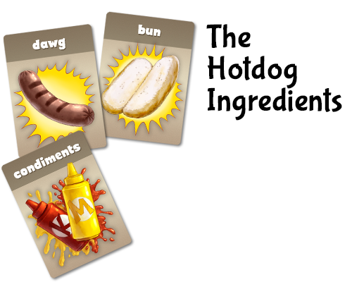 A player may win by assembling 3 hotdogs. Ingredients are stolen from under the eyelids of opposing eyeball boxers.
