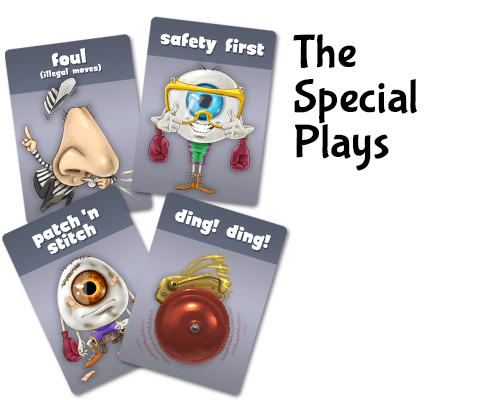 Special plays allow players to call foul on opponents, to heal eyeballs, to take a between-round healing break, or to wear safety gear to block against incoming punches.