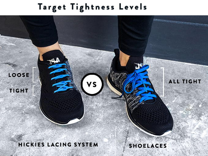 HICKIES® lacing system is the only lacing system designed to be truly adaptive. You can use our different lacing techniques to tighten or loosen your shoes to make your shoes more comfortable.