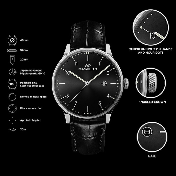 Stainless steel case + black sunray dial