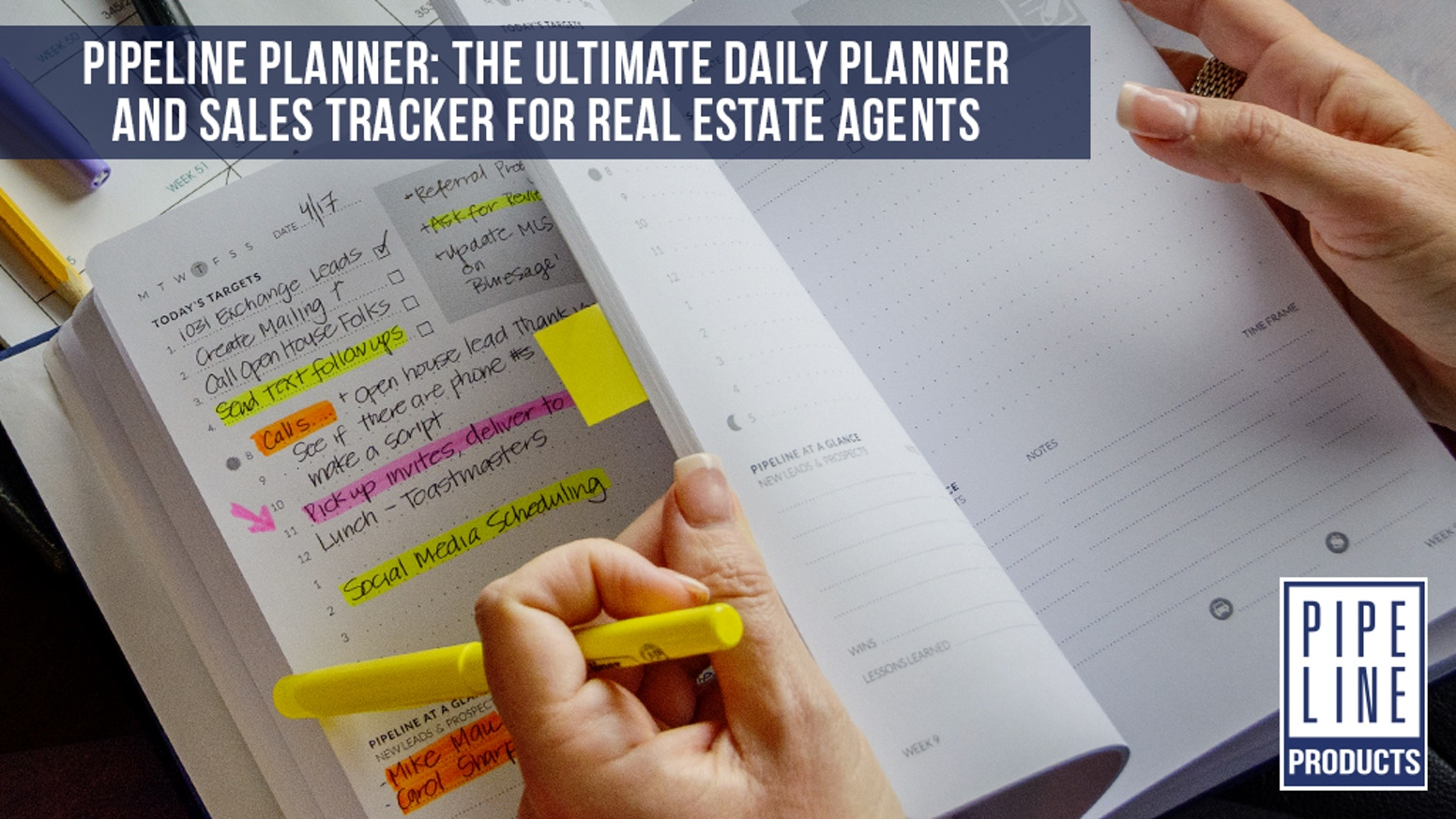 A real estate agent's to-do list, goal setting guide, journal, expense tracker, and pipeline manager all in one planner.