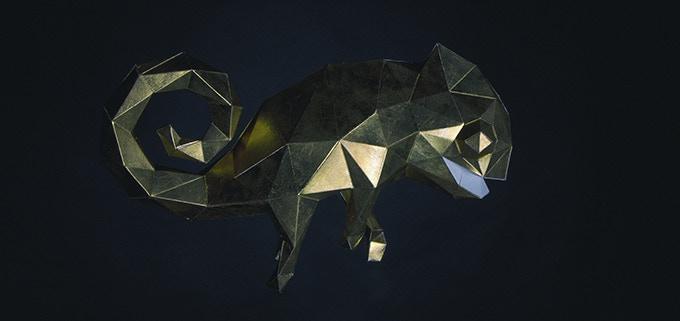 Graceful chameleon covered with 24k gold (dark room)
