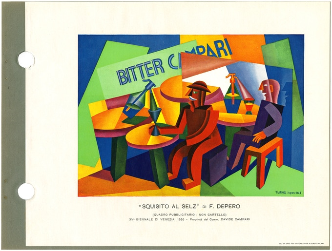 """Advertising painting"" for Campari, 1926. Exhibited at the 1926 Venice Biennale, this work was controversial as it showed advertising in a fine-art context. © 2016 Artists Rights Society (ARS), NY / SIAE Rome"
