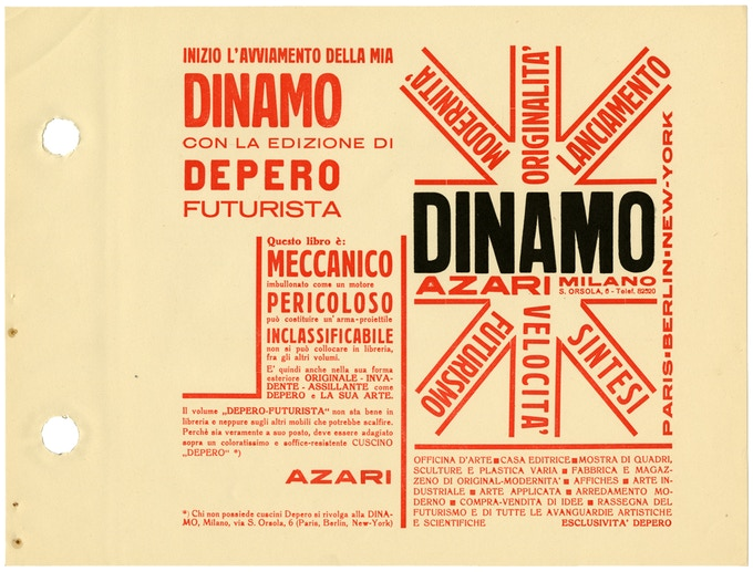 "Introduction by the publisher, Dinamo-Azari, which calls the book ""MECHANICAL,"" warns it is ""DANGEROUS: can be used as a projectile,"" and that it ""cannot be placed alongside other books in the library."" © 2016 Artists Rights Society (ARS), NY / SIAE Rome"