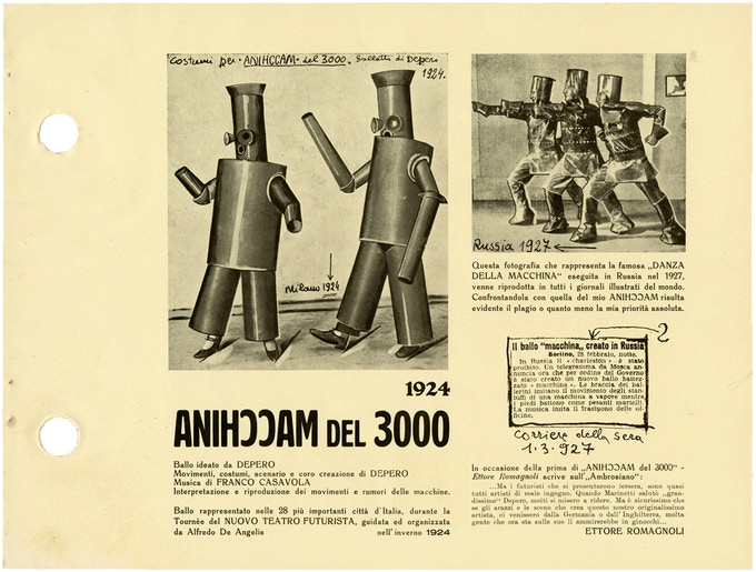 "Page showing part of a press release for a ""mechanical ballet"" that featured stage sets and costumes designed by Depero. ""Anihccam"" is the Italian word for machine spelled backward. © 2016 Artists Rights Society (ARS), NY / SIAE Rome"