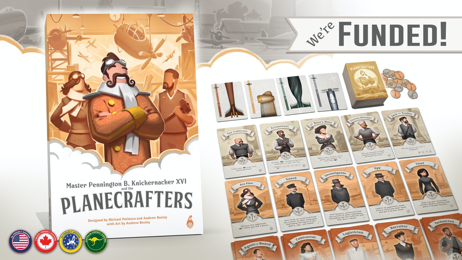 "Planecrafters is a card game set in a fantasy ""Golden Age"" of aviation!  Hire your dream team, build exotic planes, and win!"
