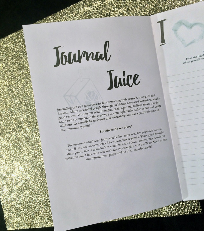 "The Journal Juice!  This workbook will give you all the ""juice"" you need to get started in journaling."